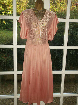 Vtg Style Silky Poly Lacy Nightie Nightdress Gown UK32-34 Bust 54inches XXXXL