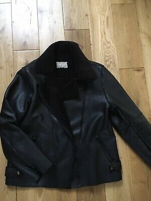 Zara Girls Black Faux Leather Sheepskin Biker Jacket Age 13 Years