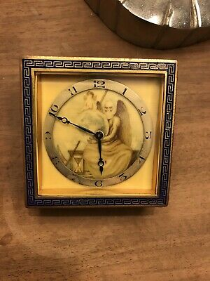 Antique French Blue Gold Enamel Clock Edwardian Timepiece Fully Working