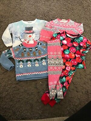 Girls Christmas Clothing Bundle Next 4-5 Years Immaculate Jumper PJs Leggings