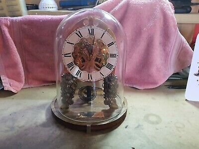 "Pro Clock Skeleton Clock ""009"" under glass dome from an 1894 Ansonia movement"