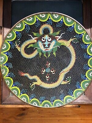 Lovely Old Cloisonné Plate With Dragon Image Approximately 24 Cms Diameter
