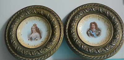 Pair of Antique French Porcelain &Brass Plate