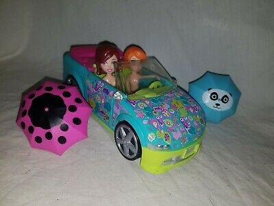 Polly Pocket Convertible car and Rainy day dolls with umbrellas