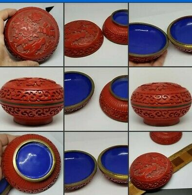 """Chinese Cinnabar Box Carved Flowers Red Round Blue Enamel 4"""""""