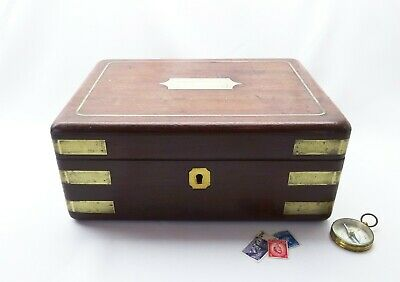Antique mahogany campaign box, early Victorian, brass bound, inset brass handle