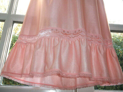 Vintage 80s British Home Stores Silky Nylon Lacy Long Length Half Slip UK16-18