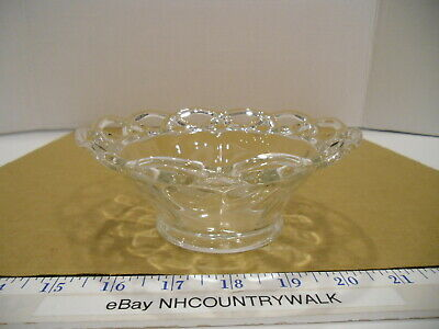 Vintage Footed Etched Clear Glass Scalloped Laced Edge Candy Dish - EUC