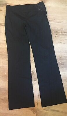 Girls Black Next Flower Smart School Trousers Uniform Age 12