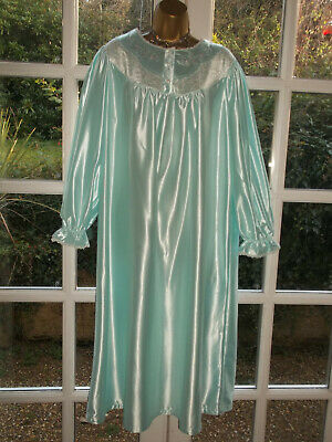 Vintage 80s Sears Glossy Poly Embroidered Nightie Nightdress Gown Bust 44-46""