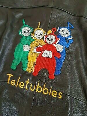 Vintage 80s 90s TELETUBBIES Black Leather Punk Rock Biker Kids Juniors Jacket