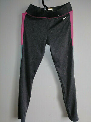 YD Active Young Dimension Girls Legging/Yoga/workout Size 10/11 Grey/Pink/Peach
