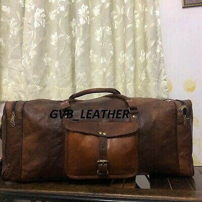 Men's Solid Leather Duffel Travel Luggage Genuine S Overnight Men's Vintage Bag