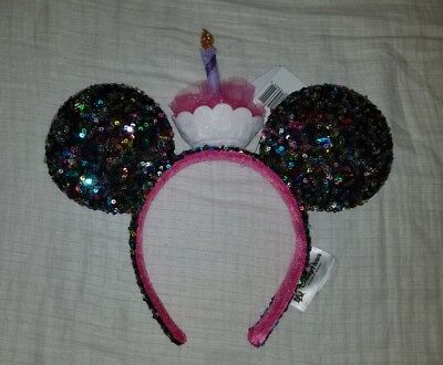 NEW Disney Parks Minnie Mickey Mouse Ear Birthday Cupcake Candle Sequin Headband