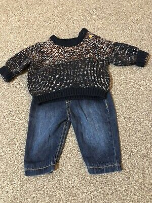 Boys Marks And Spencer Jumper And Jeans Outfit, Clothes Bundle, 0-3 Months,