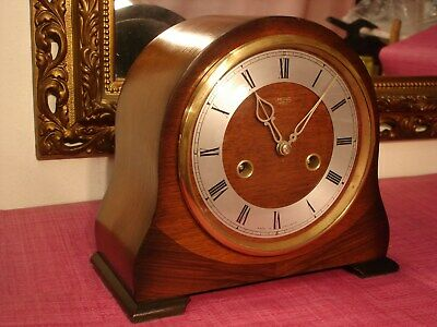 Superb Vintage English,Mahogany/ rose cased, Striking mantel clock. Mint.
