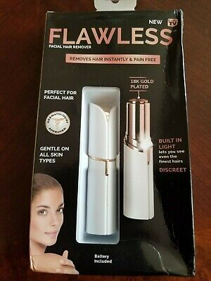 Flawless LED Lighted Precision Painless Facial Hair Remover 18K Gold Plated NEW