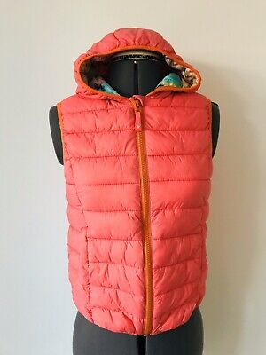 Girls NEXT Age 13 Yrs Gillet Body Warmer Orange Cat Pattern Hooded Cats Hoodie