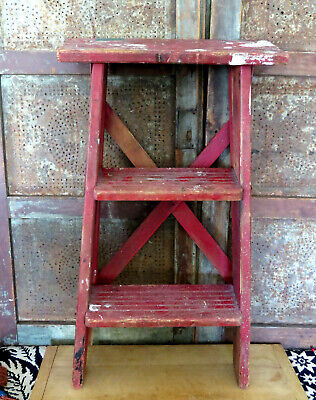 Old Primitive Original Grubby RED paint Country Farmhouse Step Stool Ladder AAFA