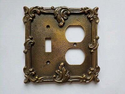 Vintage Ornate Brass Light Switch and Outlet Cover EUC