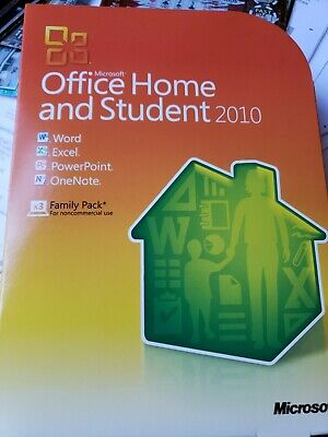 Retail Microsoft Office Home & Student 2010 3 PC's Word Excel Powerpoint OneNote