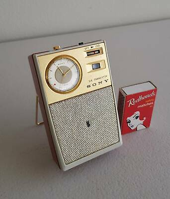 1961 Sony TRW-621 Rare Citizen Clock 6 Transistor Radio with Leather