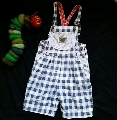 Kids 80s vintage st michael m&s checked blue white cotton Dungarees shorts 7-8 y