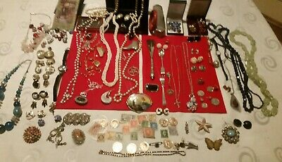 Job Lot  Solid Silver,Vintage ,Costumejewellery &  Boxes , Coins,Stamps,Spoons,