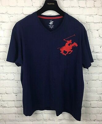 Beverley Hills Polo Club Men's XXL T Shirt Blue V Neck Embroidered Red Logo