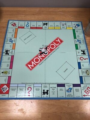 1998 Standard Edition Monopoly Game Board Only Blue Quad Fold