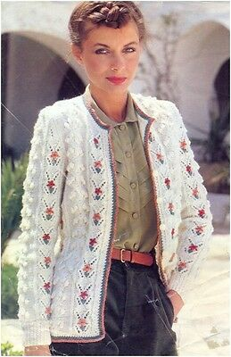 """#225 LADY/'S DK CABLED CARDIGANS 30-42/"""" VINTAGE KNITTING PATTERN"""