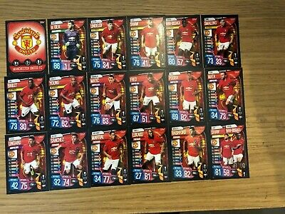 Match Attax 2019/20 Manchester United Full Team Set Of All 18 Cards Mint