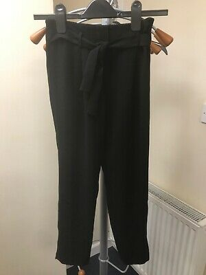 Girls River Island Black Utility Tie Belt School Trousers Age 10 years