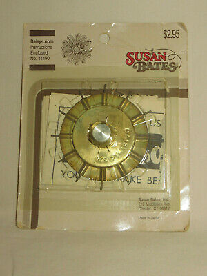 """Vintage Susan Bates Daisy Loom 2"""" Flower Making Tool Afghan with Instructions"""