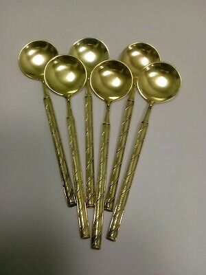 "Set of 6 Gold Over Sterling Silver Demitasse Salt Spoons ""J Tostrup Norway"""