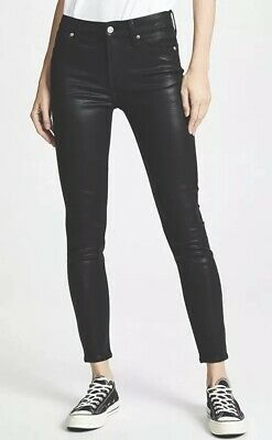 Ladies 7 FOR ALL MANKIND Black Coated Skinny Stretch Jeans. Size 26. RRP $295