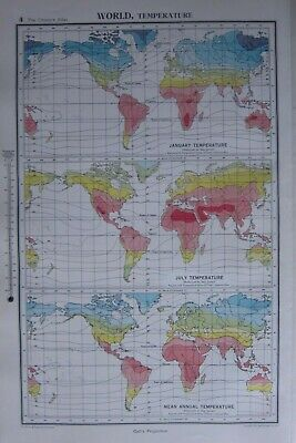 1952 Map ~ World Temperature January July Mean Annual Africa America Europe