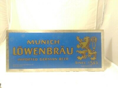 "Vintage 1960's LOWENBRAU Munich Germany BEER Bar Tavern Gas Oil 14"" Sign"