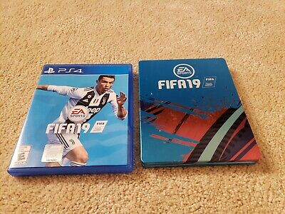 FIFA 19 - Standard Edition (Sony PlayStation 4, 2018) with a steel book cover