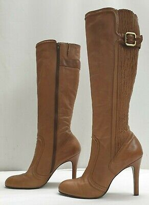 DUNE ladies womens brown soft leather elasticated knee boots Size UK 8 EU 41