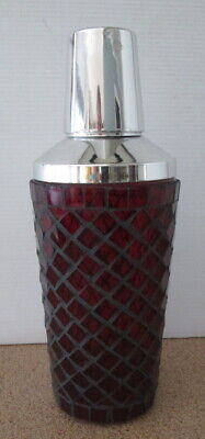 Retro Vintage Drink Shaker Mixer Silver With Red Faux Stained Glass Look