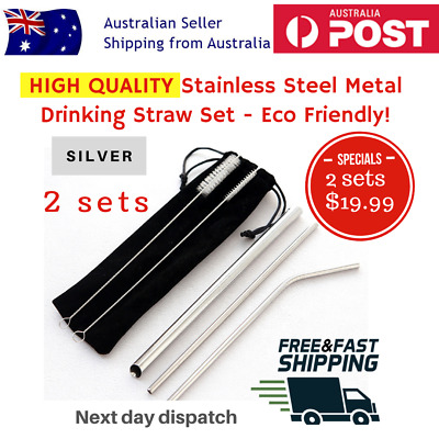 HIGH QUALITY BPA FREE Stainless Steel Metal Drinking Straw Set - Bubble Tea