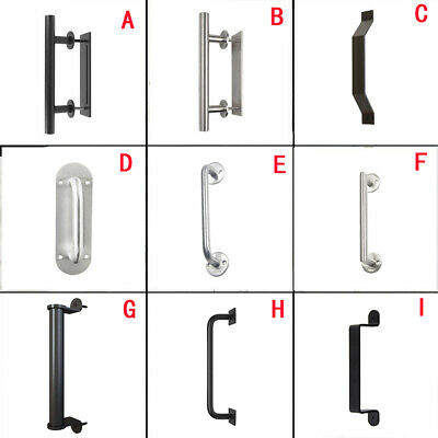 Winsoon Pull and Flush Stainless Steel Sliding Barn Door Handle Black Silver New