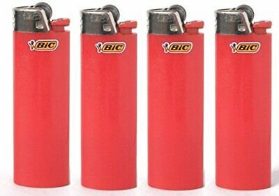 Lot of 4 Bic Red Classic Full Size Lighters New