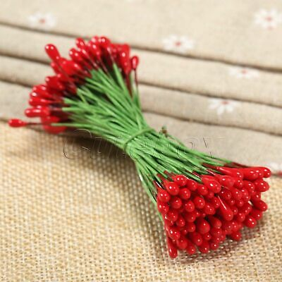 AU STOCK 100Pcs Red Artificial Flower Stamens Double Sided Plastic Wire Wrapped