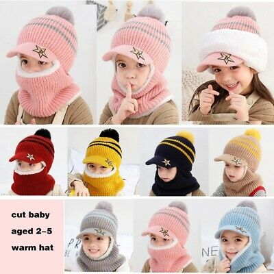 Boys and Girls Super Warm Soft Scarf Head Cap Face Guard Winter Knitted Wool Hat