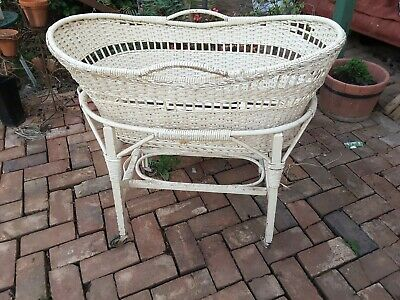 Vintage Cane Bassinet With Wheels