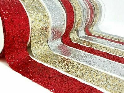 Sparkle Metallic Glitter Ribbon - Gold Red Silver - Christmas bows craft