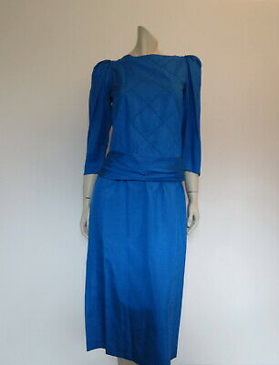 Silky Blue Dress With Drop Waist and Sash by Aime - 1980s - Bust 80 cm