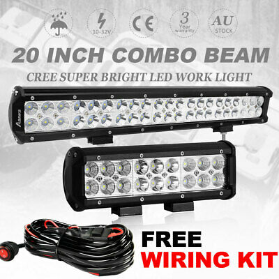 20 inch CREE LED Work Light Bar + 9'' Spot Flood Combo Offroad Driving 4WD Truck